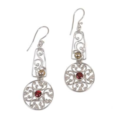 Gold accent garnet dangle earrings, 'Rapture' - Gold accent garnet dangle earrings