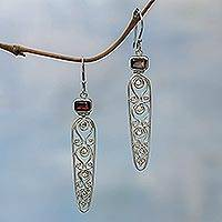 Garnet drop earrings, 'Sword of Wisdom' - Garnet drop earrings