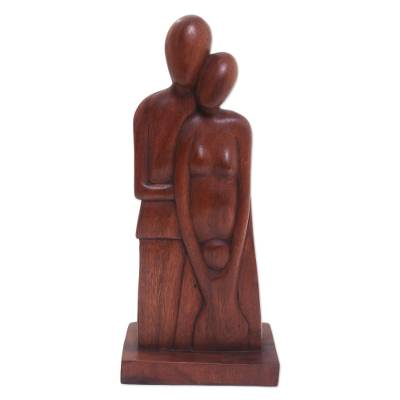 Wood sculpture, 'A Growing Family' - Romantic Wood Sculpture