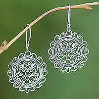 Sterling silver dangle earrings, 'Sunflower'