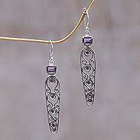 Amethyst dangle earrings, 'Sword of Wisdom' - Amethyst dangle earrings