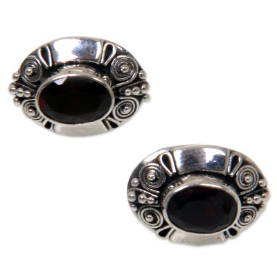 Garnet button earrings, 'Exuberance' - Garnet Sterling Silver Button Earrings