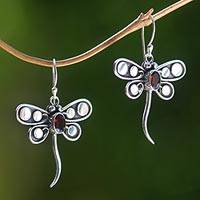 Garnet dangle earrings, 'Dragonfly Glow' - Sterling Silver Dragonfly Earrings with Garnet Gemstones