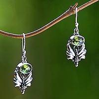 Peridot dangle earrings, 'Mystical' - Sterling Silver Peridot Dangle Earrings
