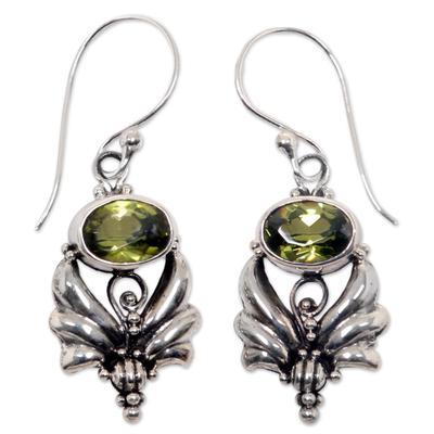 Peridot dangle earrings, 'Mystical' - Sterling Silver Peridot Dangle Earrings