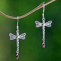 Garnet dangle earrings, 'Nocturnal Dragonfly' - Sterling Silver Dangle Earrings