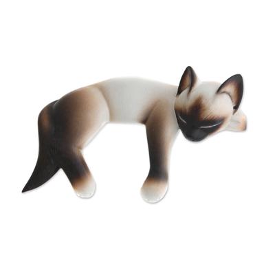 Wood statuette, 'Siamese Cat Nap' - Albesia Wood Statuette