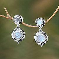 Rainbow moonstone dangle earrings, 'Infinite Sky' - Balinese Style Rainbow Moonstone Dangle Earrings