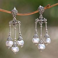 Cultured pearl chandelier earrings, 'Shower of Blessings' - Pearl Sterling Silver Chandelier Earrings