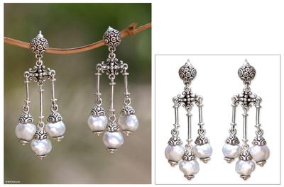 Cultured pearl chandelier earrings, 'Shower of Blessings' - Pearl Sterling Silver Chandelier Earrings