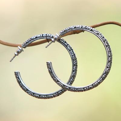 Sterling silver hoop earrings, 'Cloud Hoop' (large) - Sterling Silver Half Hoop Earrings (Large)