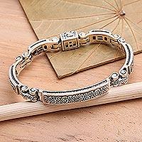 Sterling silver link bracelet, 'Delicate'
