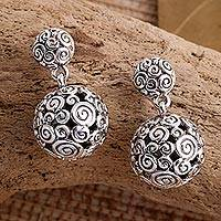 Sterling silver dangle earrings, 'Silver Twist'