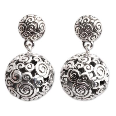 Sterling silver dangle earrings, 'Silver Twist' - Sterling Silver Dangle Earrings