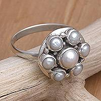 Pearl cocktail ring, 'White Rose' - Sterling Silver and Pearl Cluster Ring
