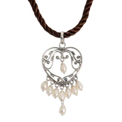 Pearl heart necklace, 'Heart Symphony' - Artisan Crafted Silver and Pearl Necklace