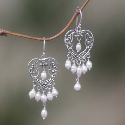 1d77d0e74 Pearl chandelier earrings, 'Heart Symphony' - Sterling Silver Pearl  Chandelier Earrings