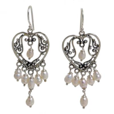 Sterling Silver Pearl Chandelier Earrings