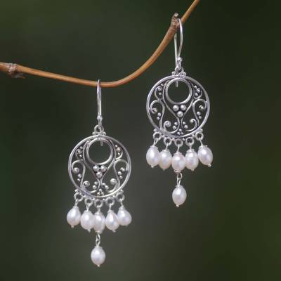 Pearl chandelier earrings, 'Moonbeams' - Pearl Sterling Silver Chandelier Earrings