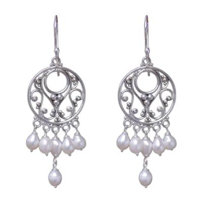 Pearl Sterling Silver Chandelier Earrings