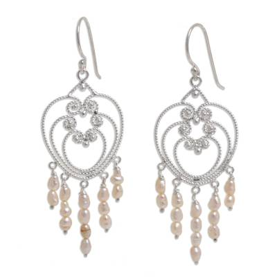 Heart Shaped Sterling Silver Pearl Chandelier Earrings