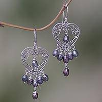 Pearl chandelier earrings, 'Heart Symphony in Black' - Sterling Silver Pearl Heart Shaped Earrings