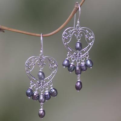 03b269dfb Pearl chandelier earrings, 'Heart Symphony in Black' - Sterling Silver  Pearl Heart Shaped