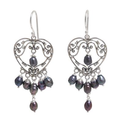 Pearl chandelier earrings, 'Heart Symphony in Black' - Sterling Silver Pearl Heart Shaped Earrings