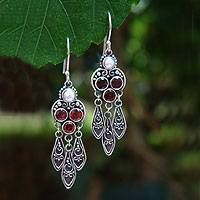 Garnet and pearl dangle earrings, 'Forest Princess'