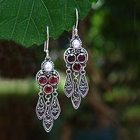 Garnet and pearl dangle earrings, 'Forest Princess' - Sterling Silver Garnet Chandelier Earrings