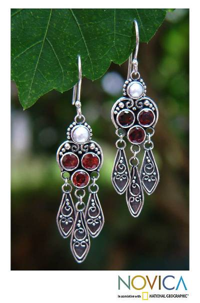 Garnet and pearl dangle earrings, 'Forest Princess' - Sterling Silver Garnet Chandelier Earrings