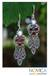Garnet and pearl dangle earrings, 'Forest Princess' - Sterling Silver Garnet Chandelier Earrings thumbail