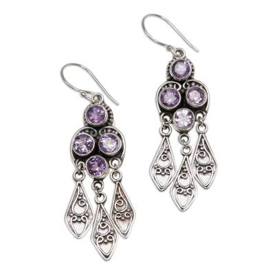 Amethyst chandelier earrings, 'Forest Princess' - Sterling Silver Amethyst Chandelier Earrings
