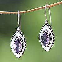Amethyst drop earrings, 'Diamond Sparkle'
