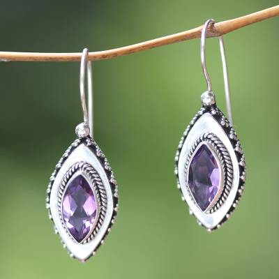 Amethyst drop earrings, 'Diamond Sparkle' - Sterling Silver Amethyst Drop Earrings