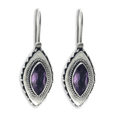 Amethyst drop earrings, 'Diamond Sparkle' - Sterling Silver Amethyst Drop Earrings