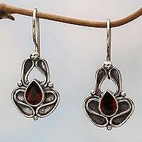Garnet drop earrings, 'Newborn Butterfly' - Garnet drop earrings