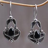 Onyx dangle earrings, 'Newborn Butterfly' - Onyx dangle earrings