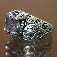 Amethyst solitaire ring, 'Spring' - Faceted Amethyst Floral Silver Solitaire Ring