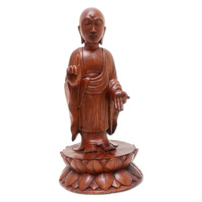 Wood statuette, 'A Simple and True Life' - Indonesian Wood Buddha Sculpture