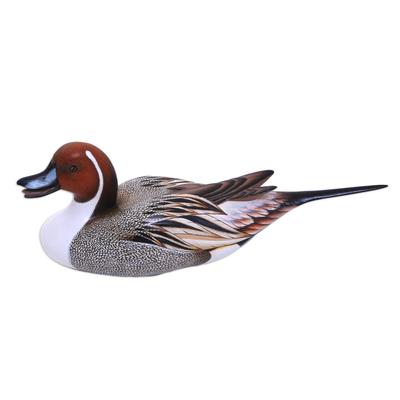 Wood sculpture, 'Life Size Pintail Duck' - Wood Bird Sculpture