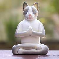 Wood sculpture, 'Cat in Meditation'