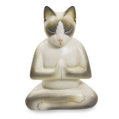 Wood sculpture, 'Cat in Meditation' - Unique Wood Cat Sculpture