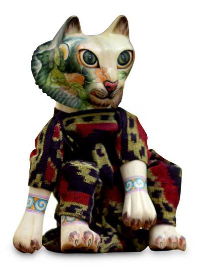 Wood display doll, 'Cat Who Loves Nature' - Cotton and Wood Decorative Doll
