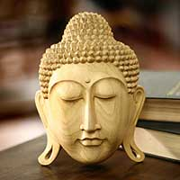 Wood mask, 'Buddha's Eternal Bliss' - Wood mask