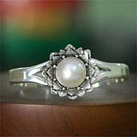 Pearl cuff bracelet, 'Sunflower' - Pearl Sterling Silver Cuff Bracelet