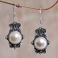 Pearl earrings, 'Moonlight Rendezvous' - Handcrafted Bridal Pearl Earrings
