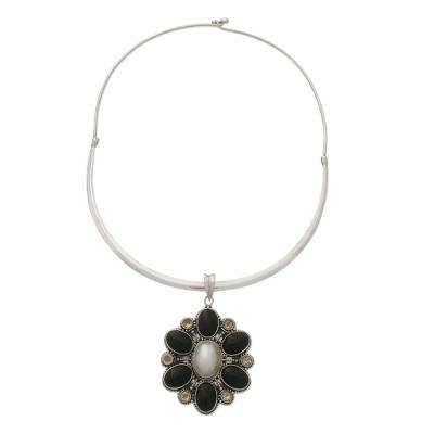 Pearl and onyx choker, 'Bajang Flower' - Pearl and Onyx Pendant on a Sterling Silver Collar Necklace