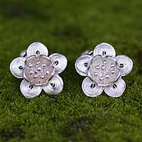 Sterling silver clip-on flower earrings, 'Wild Rose' - Unique Floral Clip-On Earrings from Indonesia