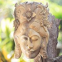Wood mask, 'Lady Fragrance' - Wood mask
